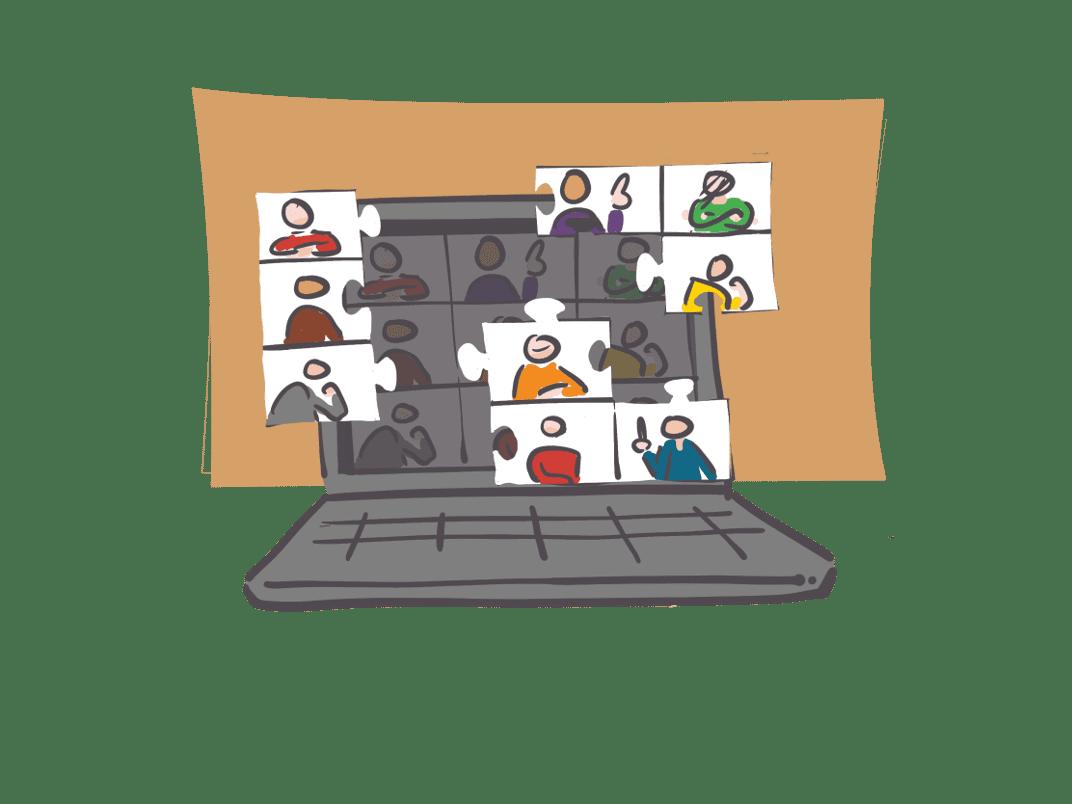 tekening van een laptop met breakout sessies in beeld.