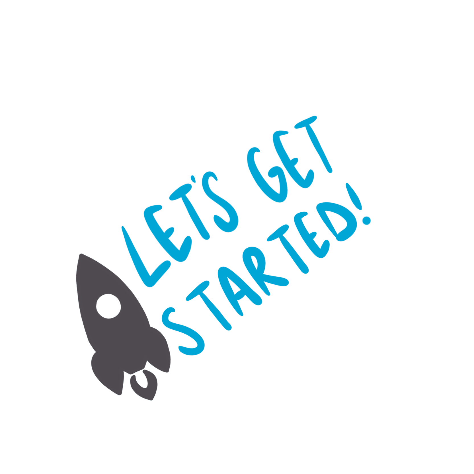 een raket met daarnaast de tekst: let's get started!