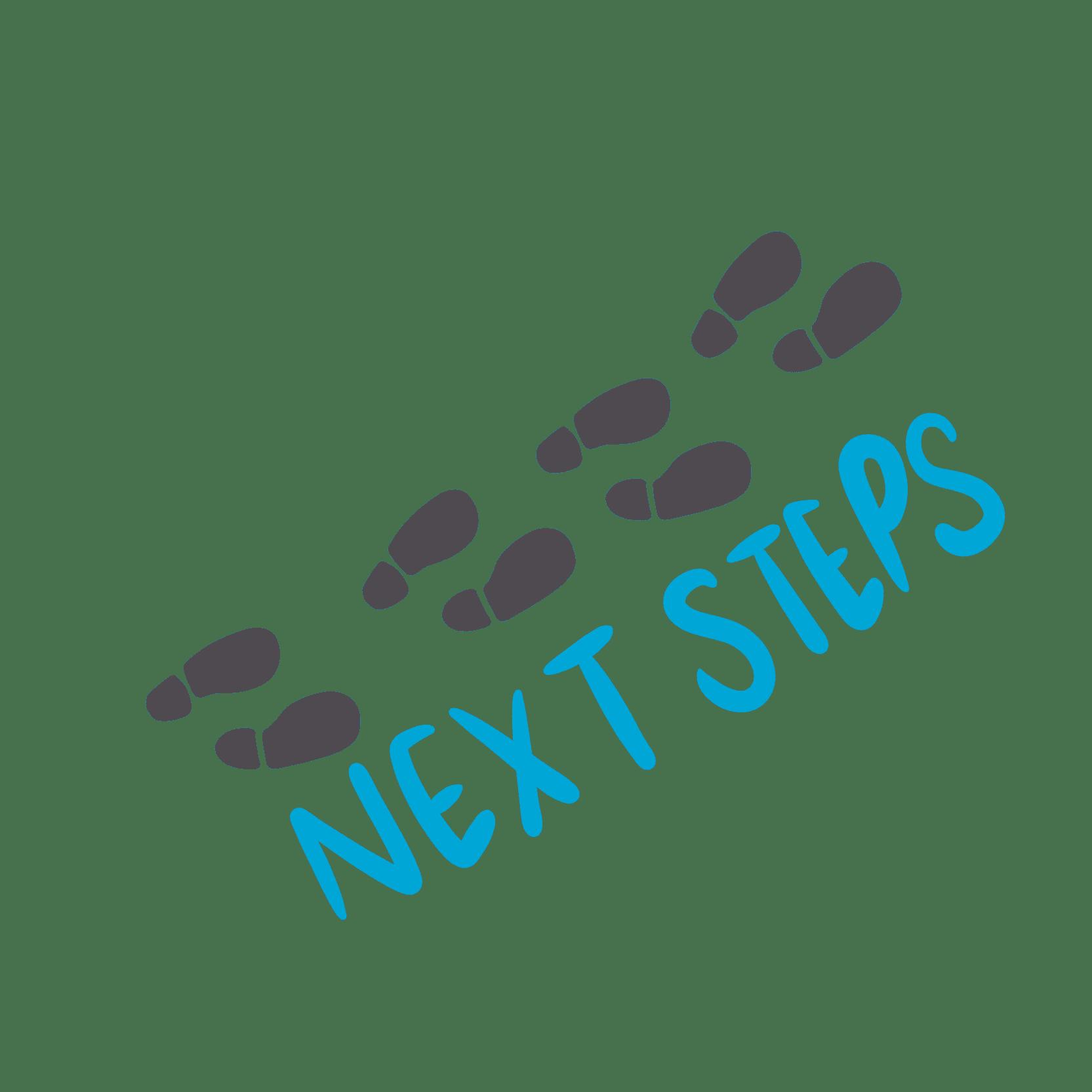 voestappen met de tekst 'next steps'