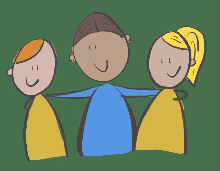 drie personen staan vriendschappelijk naar elkaar