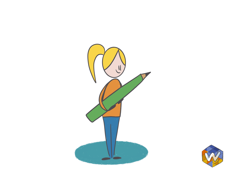 meisje heeft een groot potlood vast